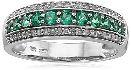 10k-White-Gold-Created-Emerald-and-Diamond-15cttw-I-J-Color-I2-I3-Clarity-Ring-Size-7
