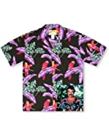 Paradise Found Jungle Bird Black Tom Selleck Magnum PI Hawaiian Shirt
