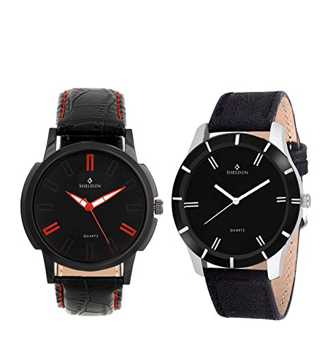 Sheldon Black Leather Analog Watch For Men Combo Of 2