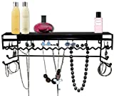 Supreme Classic Black Metal Wall Mount Jewelry Organizer Shelf Earrings Holder Bracelets Necklace Handbag Hanger - Available in 10.5 Inch or 17 Inch