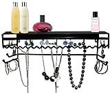 Supreme Classic Black Metal Wall Mount Jewelry Organizer Shelf Earrings Holder Bracelets Necklace Handbag Hanger