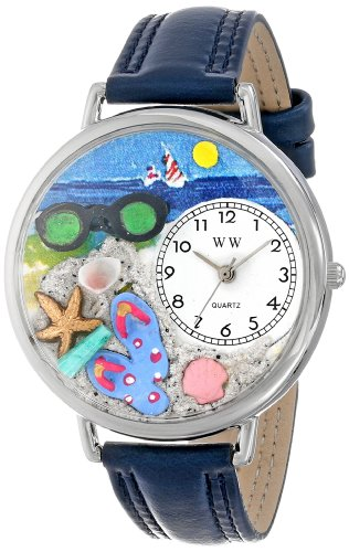 Whimsical Watches Unisex U1210015 Flip-Flops Navy Blue Leather Watch front-791287