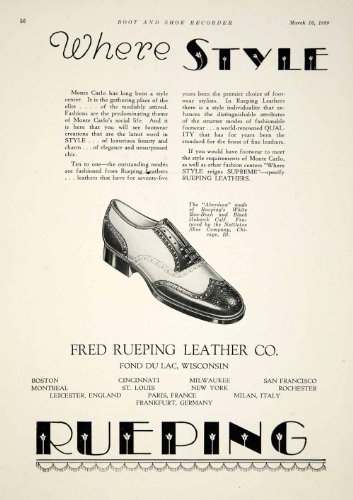 1929 Ads Fred Rueping Leather Company Style Aberdeen Fashion Monte Carlo Floral - Original Print Ads