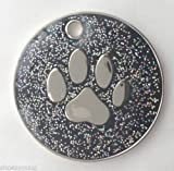 Personalised DOG CAT PAW PRINT Black Glitter Identity ID Tag Engraved, please message Emblems Gifts Ltd direct with the details