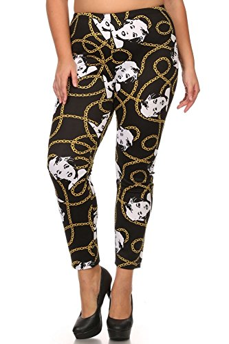 Leggings4U Womens American Plus Size Marilyn Monroe Jewelry Print Fashion Leggings