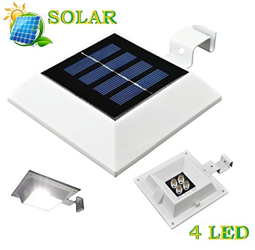 Solar Powered 4 Led Light For Outdoor Garden, Roof Gutter, Fascia Board, Fence, Tiki Hut, Dog House, Tree, Outside Garage Door, Wall Etc.. With Bracket (Small Accent Light) front-95012