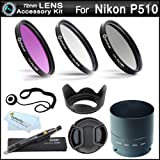 72mm Essential Filter Kit Bundle For Nikon Coolpix P510 Digital Camera Includes Necessary Tube Adapter (72mm)...