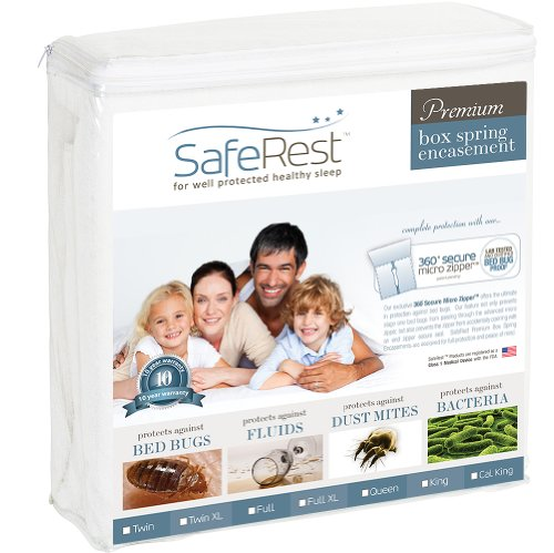 California King Size (Includes Two Encasements Needed For Split Box Springs) Saferest Premium Waterproof Lab Certified Bed Bug Proof Zippered Box Spring Encasement - Designed For Complete Bed Bug, Dust Mite And Fluid Protection 9""