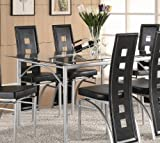 Rectangular Dining Table with Glass Top Metal legs Picture