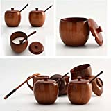 Natural Wood Bowl&Cover Heat-Proof Healthy Baby Rice/Soup/Salad Bowl,160ML