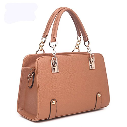 Van'an Womens Modern PU Leather Vintage Tote Bags Rectangle Top Handle Handbag(Brown)