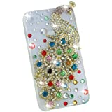 3D Colorful Flash Handmade Peacock Bling Crystal Case Cover for Iphone 4 4s 4g
