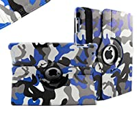 SANOXY 360 Degrees Rotating Stand PU Leather Case for iPad 2/3/4, iPad 2nd generation (iPad 2/3/4 NAVY CAMOUFLAGE BLUE) from SANOXY