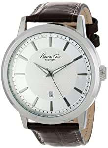 """Kenneth Cole New York Men's KC1952 """"Modern Core"""" Stainless Steel Watch with Brown Leather Strap"""