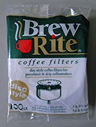 100ct BREW RITE coffee filters DISC STYLE percolator - made in USA made by BREW RITE