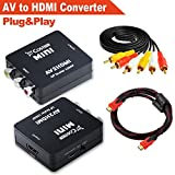AV/CVBS Composite to HDMI Output,Costech HD 1080p Video Converter Adapter Plug and Play with HDMI Cable, Audio/Video Cable Gold Plated for HDTV,VCR,DVD,PS3,Monitors, Displayers (Black)