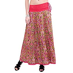 TUNTUK Women's Talia Skirt Pink Cotton Skirt