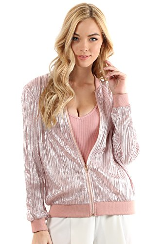madeleine-rose-gold-metallic-bodre-textured-zip-up-bomber-jacket-large