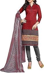 VIDA Women's Cotton Salwar Suit Material (Maroon)