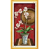 Zamtac Elegant Orchid Printed Canvas DMC Counted Cross Stitch Kits Printed Cross-Stitch Set Embroidery Needlework - (Color: H622, Cross Stitch Fabric CT Number: 11CT Picture Printed) (Color: H622 / 11CT picture printed)