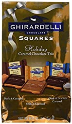 Ghirardelli Caramel Trio (Milk and Caramel, Dark and Caramel and Dark and Sea Salt Caramel) Chocolate Squares Bag, 8.51-Ounce
