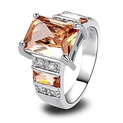 Tricess Emerald Cut and Morganite Sterling 925 Silver Fashion Cocktail Ring