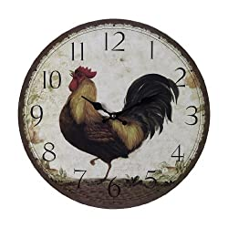 Sterling Home Wood Rooster Clock, 13-Inch Diameter