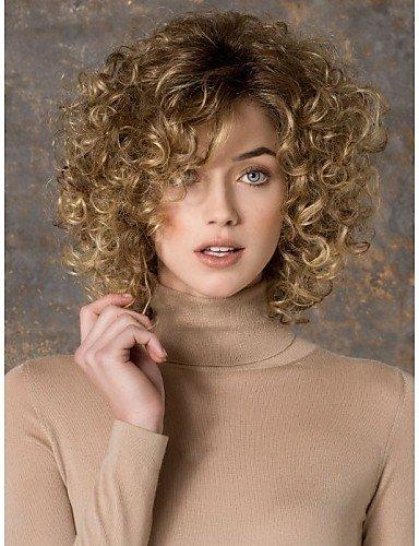 Parrucche europei moda capelli vendita caldo bello medio lungo caschetto biondo onda sintetico europeo