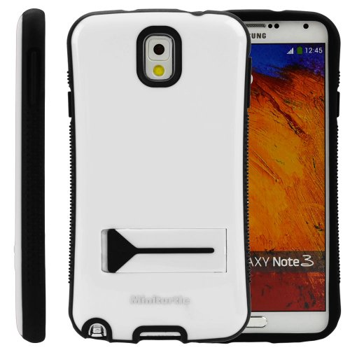 Miniturtle, Grip Armor Series Hard Phone Case Cover Bumper - Gloss Finish - With Built In Kickstand And Clear Lcd Screen Protector Film For Samsung Galaxy Note Iii (White / Black)