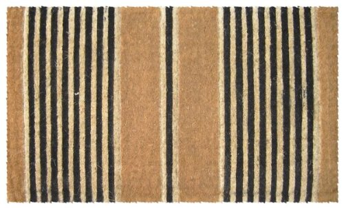 Entryways Ticking Stripes Black Extra Thick Coconut Fiber Doormat ...