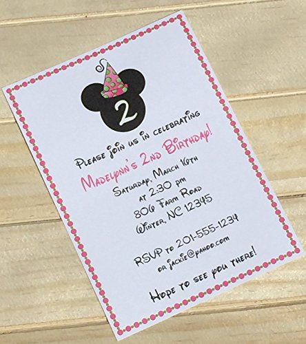 Set of 10 Girls Birthday Party Invitations Minnie Mouse Birthday Party Invitations (Minnie Mouse Custom Invitations compare prices)