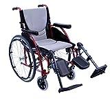 Karman S-ERGO115F16R-E Wheelchair with Elevating Legrest, Rose Red, 16 x 17 Inch, 25 Pound