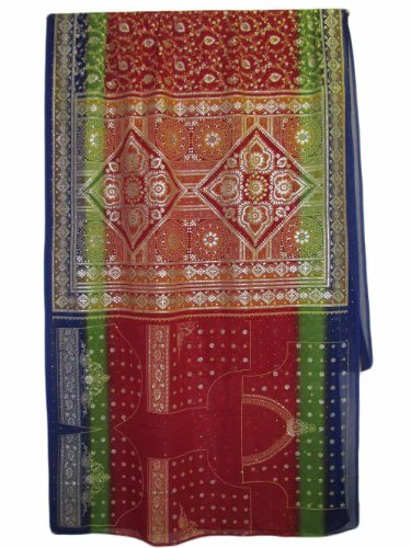 Red/Blue/Green Paisley Gold Foil Shimmering Art Indian Fabric Sari Saree