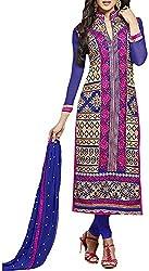 VIDA Women's Georgette Salwar Suit Material (Blue)