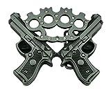 BRASS KNUCKLES & GUNS BELT BUCKLE HANDGUN PISTOL