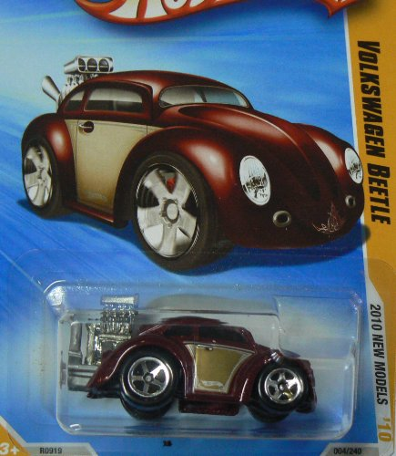 HOT WHEELS 2010 NEW MODELS 04 OF 44 BURGUNDY W/ GOLD VOLKSWAGEN BEETLE