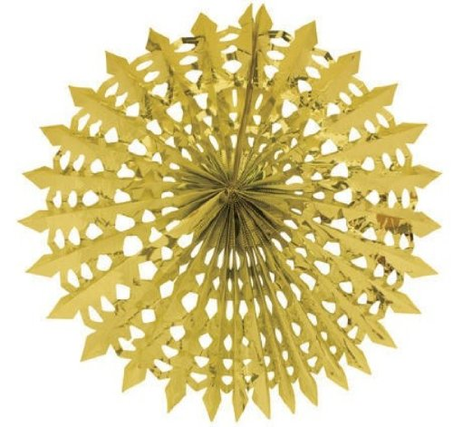"Creative Converting Glitz Gold Hanging Décor 16"" Dimensional Foil Fan"