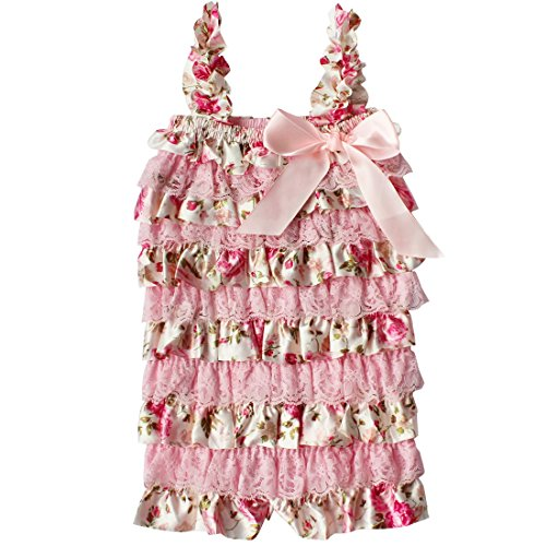 TIAOBU US Baby Girls Summer Lace Spaghetti Ruffle Tiered Romper Outfits Pink Floral Size 12-18 Months