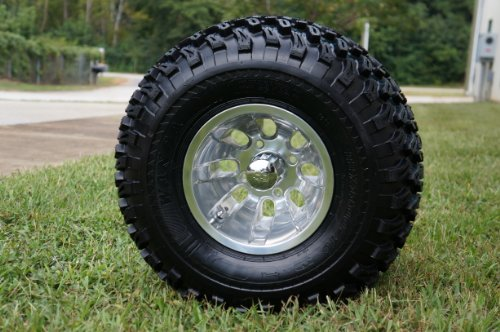10 Golf Cart Wheels And Tires Combo Set Of 4 Machined Polished W All Terrain Tires Review Milenasdpirogova