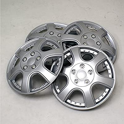 TuningPros WSC2-011S14 Hubcaps Wheel Skin Cover Type 2 14-Inches Silver Set of 4