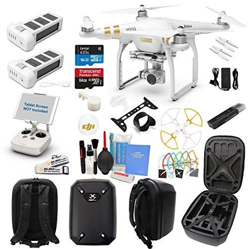 DJI Phantom 3 Professional Drone Quad Copter with Hardshell Backpack Kit (24 Items)