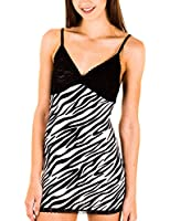 Cotton Cantina Women's Polyester Spandex Animal Print Adjustable Straps Chemise