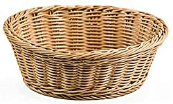 Round Woven Baskets for Serving Food, 9-3/8' Round Fruit Bowls, Polypropylene Material is Dishwasher Safe - Set of 12