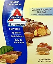 Atkins Caramel Chocolate Nut Roll, 17 Count