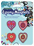 MagnaCard Magnetic Epoxy Heart Shaped Magnets, 4 Pack, 9 x 6 x 9 inches  (61205)