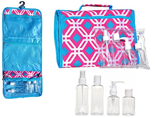 Best Hanging Travel Makeup Toiletries Cosmetic Bag Case Organizer 4 Pack Travel Size Bottle Set Unique Last Minute Stocking Stuffer Christmas Gift Women Teen Girls Wife Her 2015 (BigWorld9)