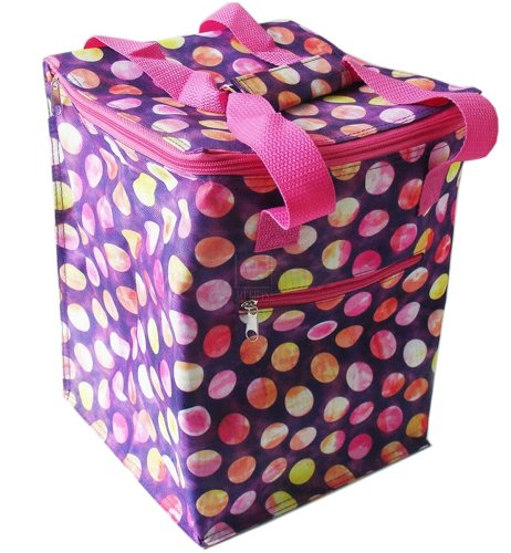 Pink Tie-Dye Polka Dot Insulated Picnic Lunch Tote - 1