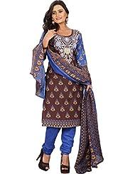 Sonal Trendz Brown Color Polycotton Printed Dress Material.Party Wear Festive Wear. - B019J10RUS
