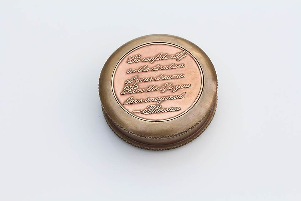 Go Confidently Thoreau's Stamped Quote Compass W/Stamped Mandala Design Case 3