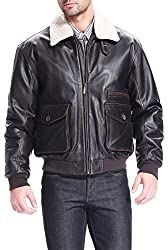 BGSD Men's Vintage Cowhide Leather Flight Bomber Jacket - Big & Tall
